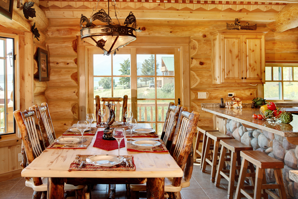 Eat-in kitchen area of log home