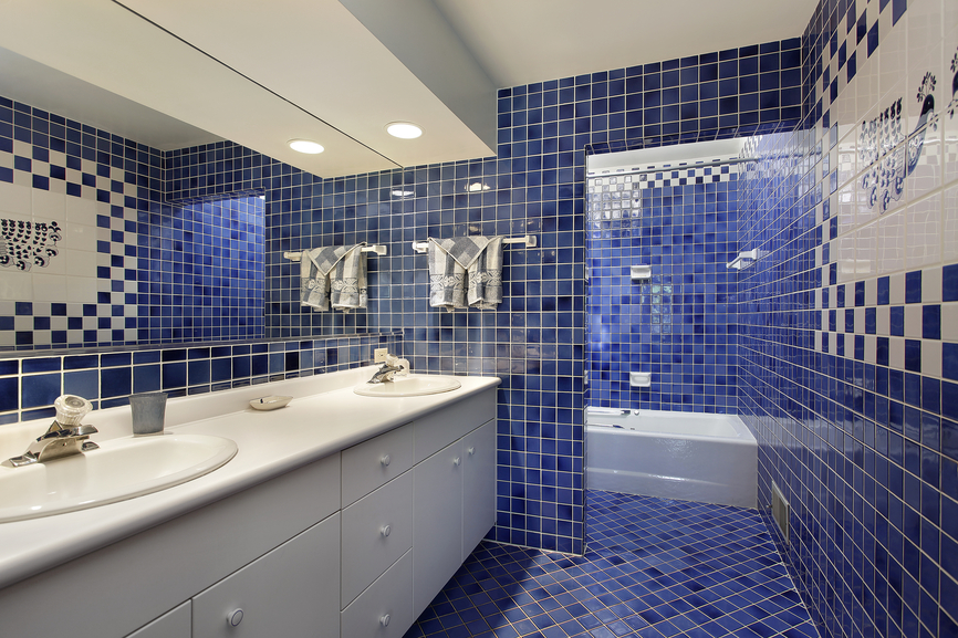 Dark blue tile work makes this bathroom stand out  Tile work on floor and walls. 127 Luxury Bathroom Designs  Part 3
