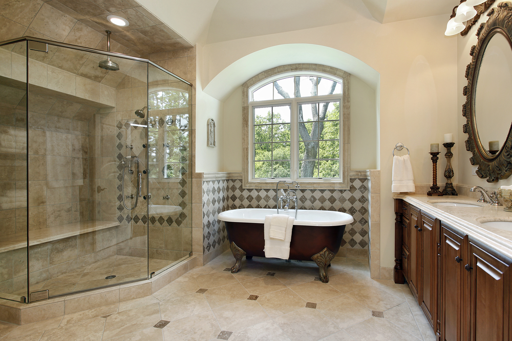 Custom Bathroom With Claw Tub In Nook Under Window Large Glass Shower
