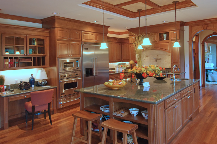 Custom Kitchen With Extensive Use Of Natural Wood Wood Cabinets Island Floor As