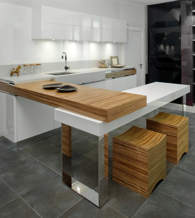 Small unique modern kitchen design in natural wood and white with small eat-in counter-bar