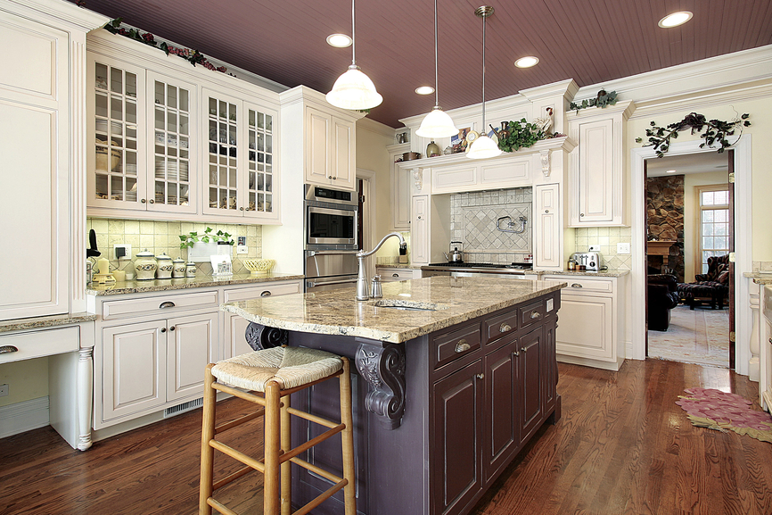 124 pure luxury kitchen designs part 3 - White kitchen with dark island ...