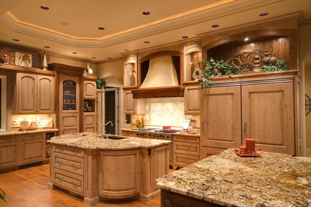 Large Luxury Kitchen With Two Kitchen Islands Tray Ceiling And Wood Floor
