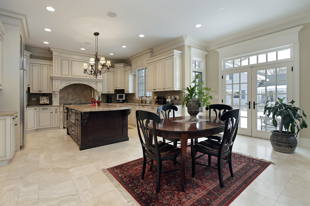 Luxury Home With Open Living Space With Kitchen Opening To Dining Area.  Kitchen Features White Part 86