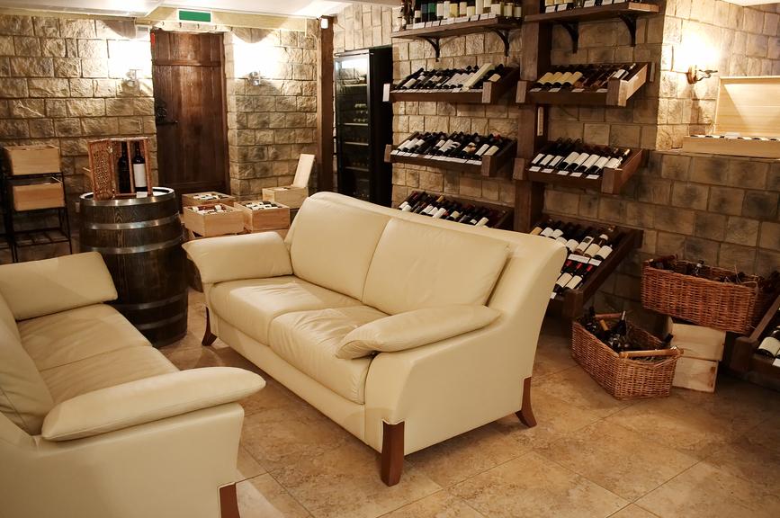 Wine tasting room in basement of luxury home