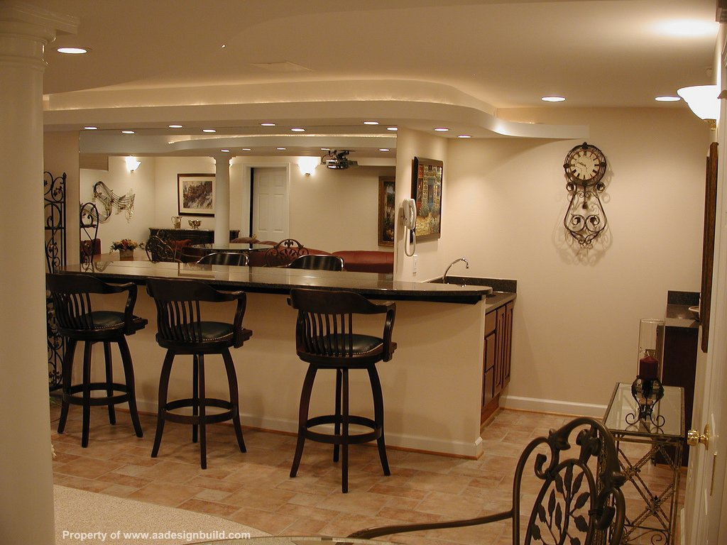 Finished basement with western-style mini-bar
