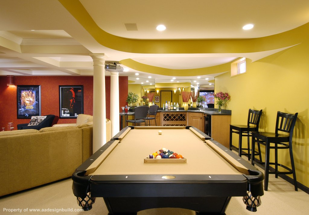 billiards room section of large man cave finished basement - Finished Basement Design Ideas