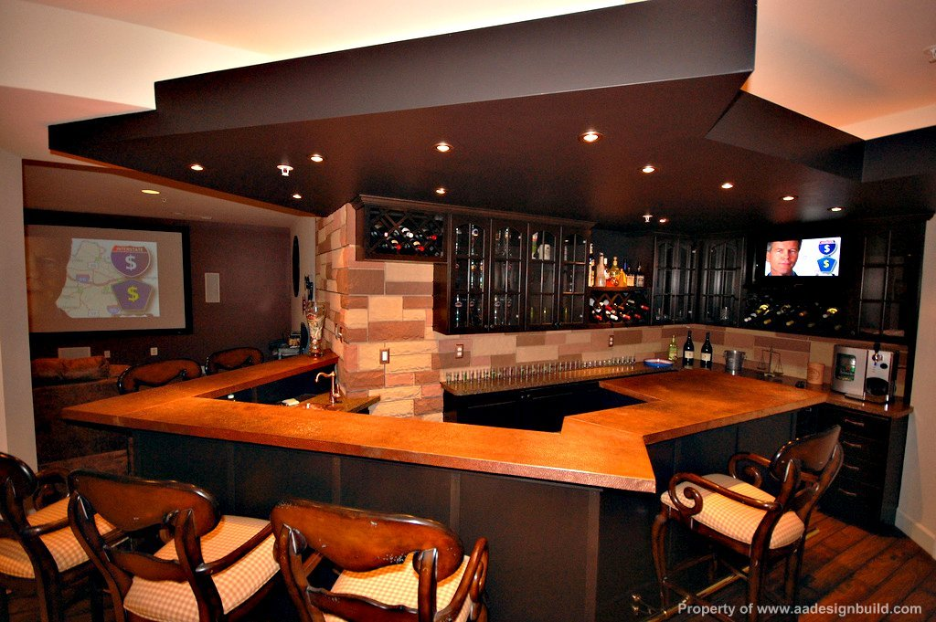 Cool man cave design with large bar