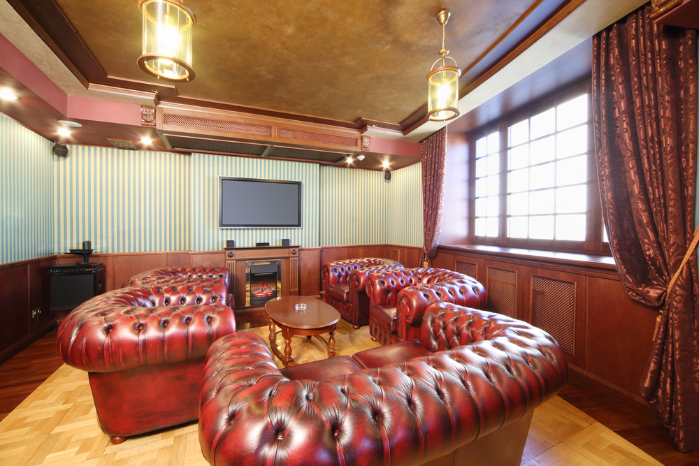 Cigar room with television