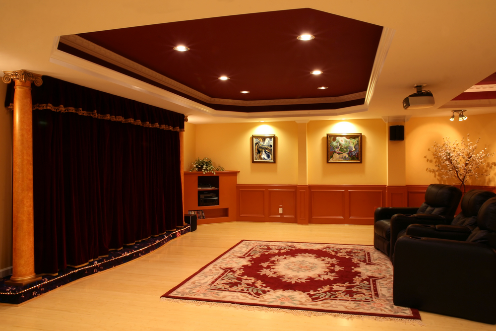 Elaborate basement TV room man cave