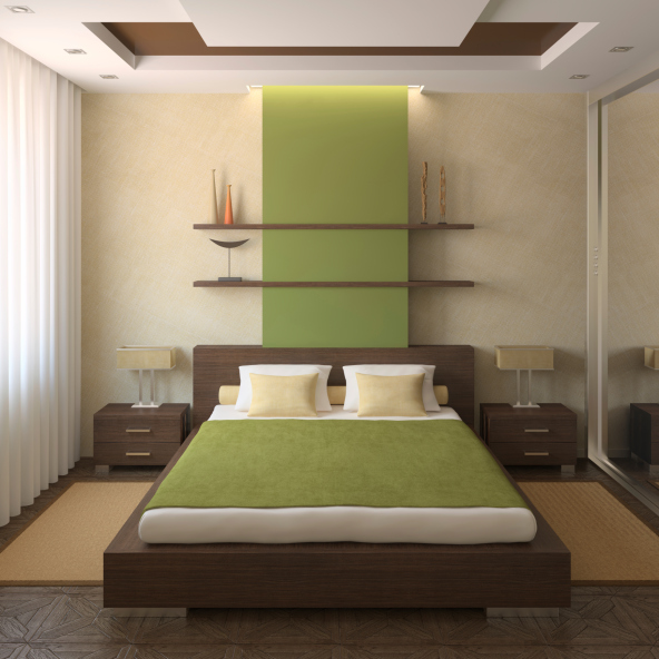 Small Bedroom With Green Accent And Dark Wood Design