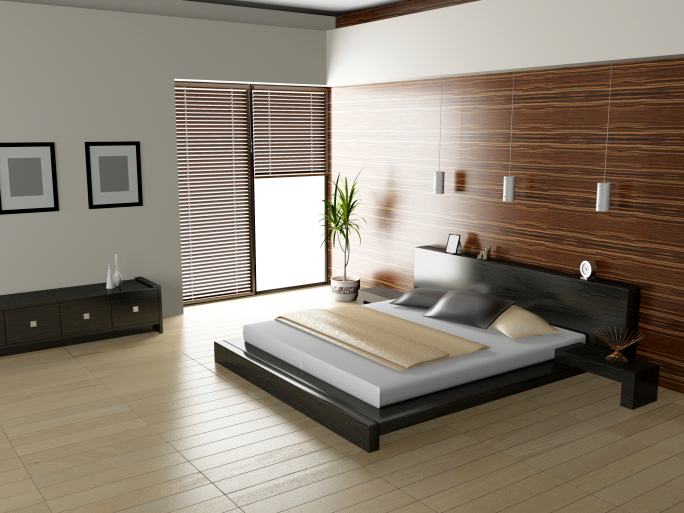 sleek modern bedroom with light wood floor and dark frame bed - Modern Bad Room