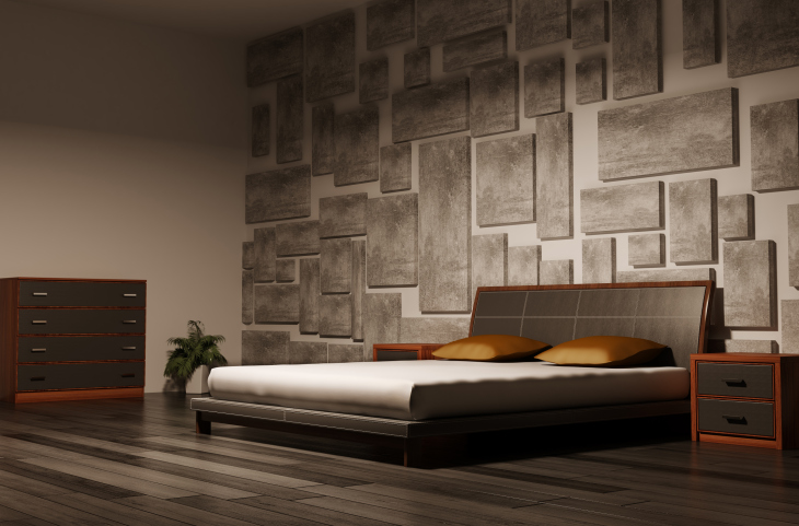 masculine bedroom design with textured wall dark hard wood floor and low dark bed frame