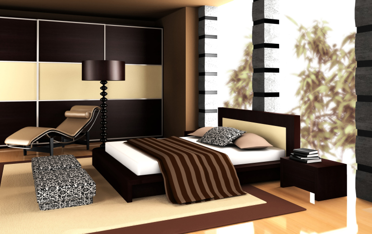 Elegant Modern Master Bedroom With Black And Light Wood Color Design And  Floor To