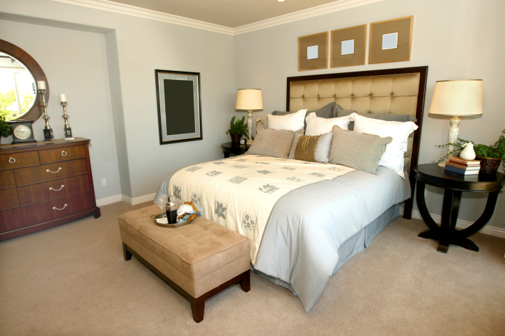 Stylish Contemporary Master Bedroom With Carpet, Wood Furniture And Padded  Head Board