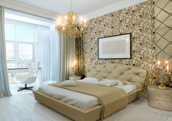 Luxurious Condo Master Bedroom With Gold Wall Design Chandelier And Large Window
