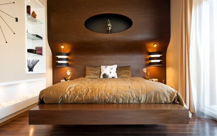 Small Rich Wood Bedroom With Wood Wall And Flooring