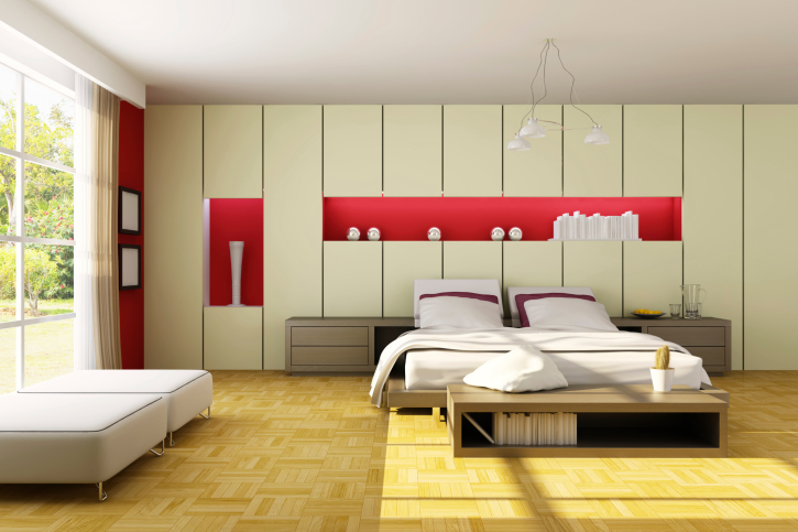 Large Wood, White And Red Master Bedroom Design