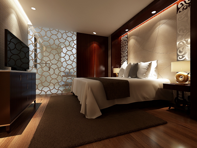 dark master bedroom with brown and white color scheme and flat screen