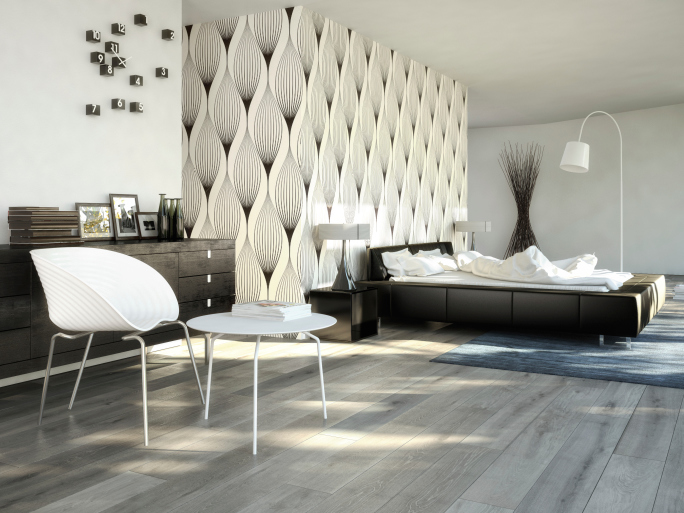 Stylish modern white and black bedroom with very light wood flooring