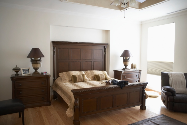 Simple Wood And White Bedroom With Large Wood Head Boar, Wood Flooring And  White