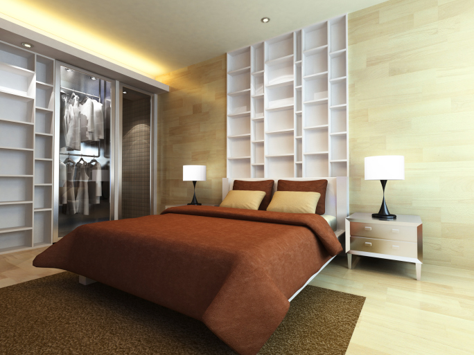 Light brown bedroom with built-in white shelving and large closet