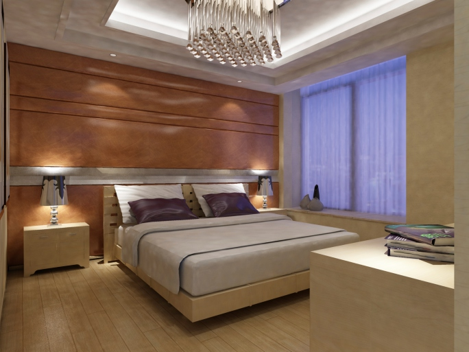 contemporary bedroom with a lot of wood including wood paneled wall and light wood floor