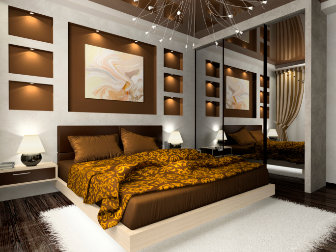 ornate master bedroom with brown gold and white design with wall mirror and recessed - Master Bedrooms