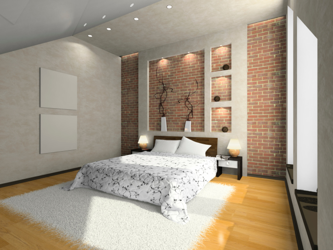 Wood Floor Small Bedroom. Small bedroom with brick wall design  light wood floor white rug and sloping ceiling 101 Sleek Modern Master Bedroom Design Ideas for 2018 Pictures