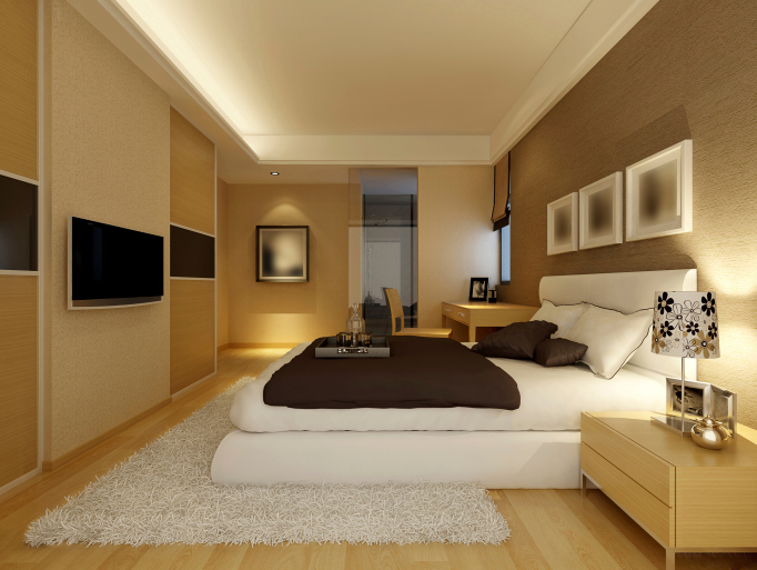Large Light Brown Bedroom With White Rug And Bed Wood Furniture Floor
