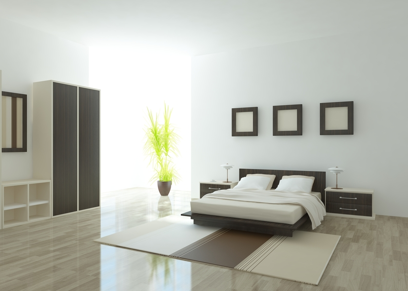 Simple wood and white master bedroom with wood bed frame, floating  side-tables and