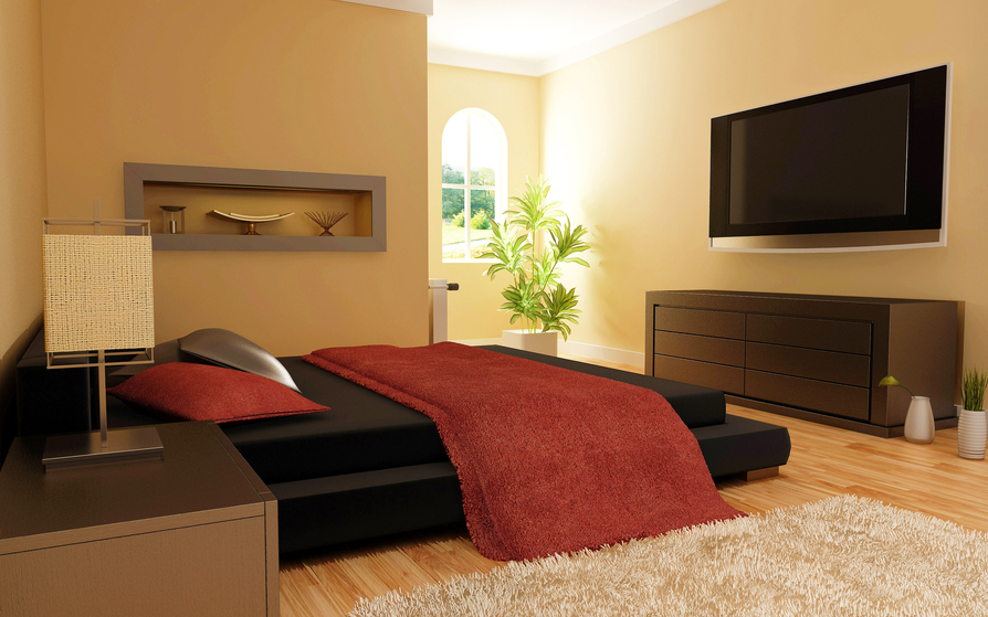 Elegant Master Bedroom With Light Wood Floor, Black Bed And Large Flat  Screen Mounted On
