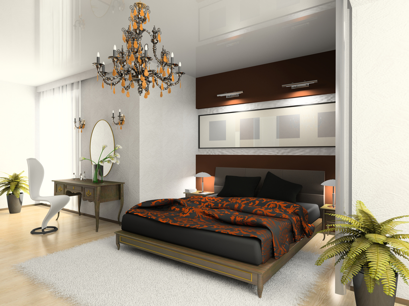 Lovely Elegant Bedroom With Recessed Black And Wood Bed On Light Wood Floor And  White Walls