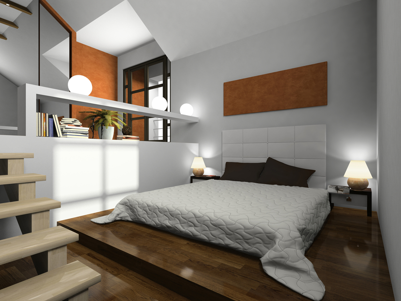cool bedroom in sunken room with low wooden platform bed and white walls - Wooden Bedroom Design