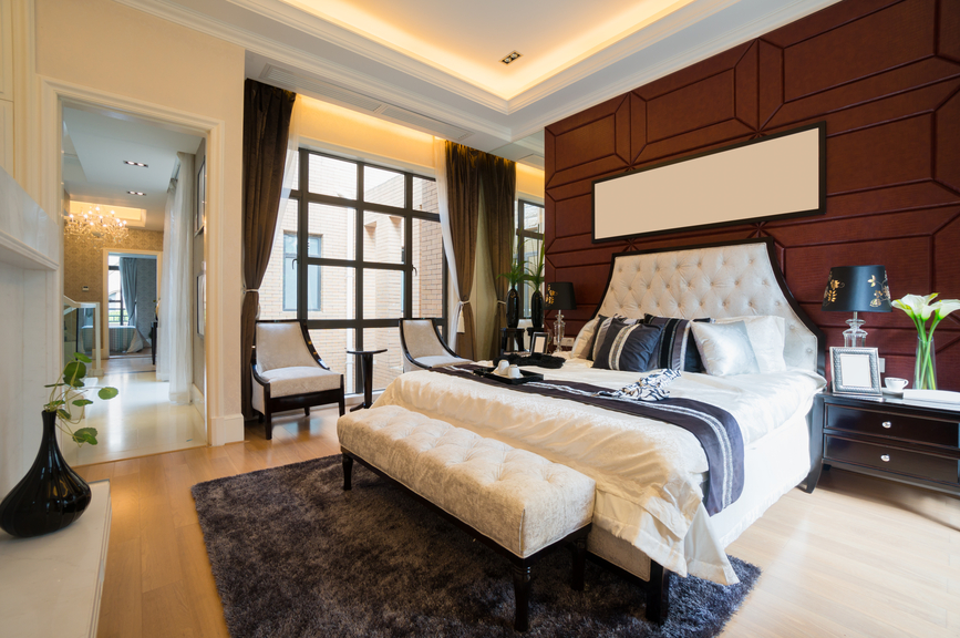 luxurious master bedroom with wood paneled wall all white bed light wood floor. beautiful ideas. Home Design Ideas