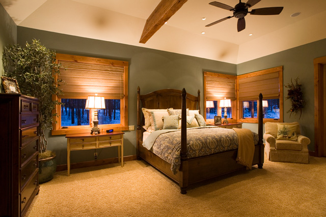 custom master bedroom design with large wood bed wooden blinds and green walls - Wooden Bedroom Design