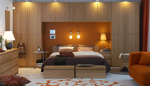 Large Custom Bedroom Design With Brown And Orange Color Design