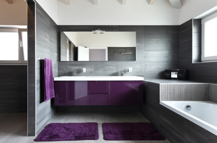 ultra modern bathroom design with grey walls and floor and deep purple accents - Modern Bathroom Designs