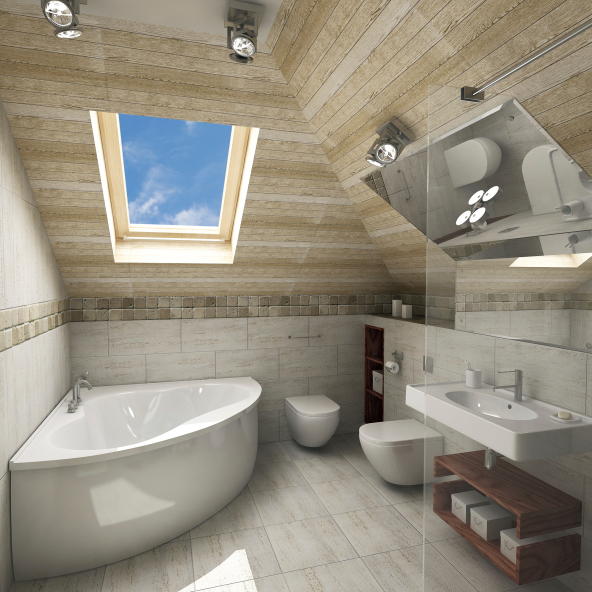 Small renovated bathroom in attic with skylight, white tub and sink and wood ceiling