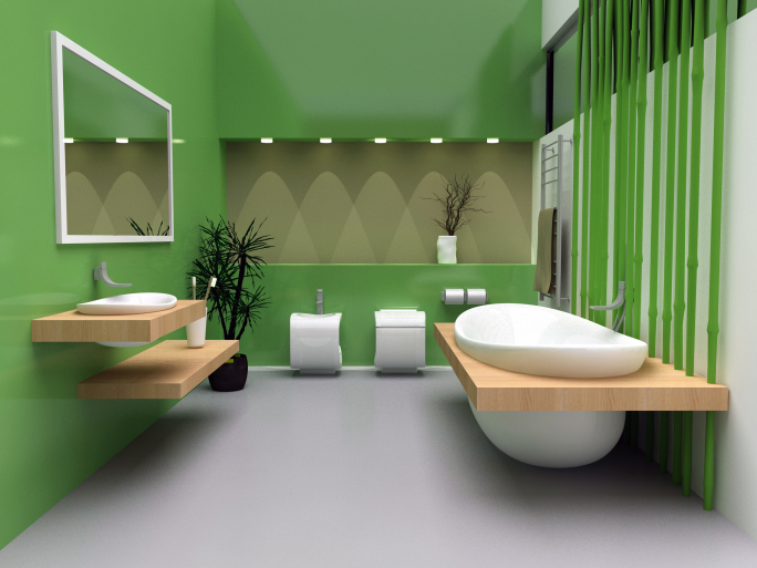 Contemporary green bathroom with white tub, toilet and sink accented with natural wood