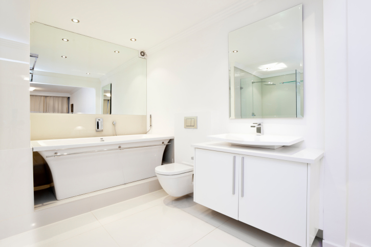 modern white bathroom cabinets. all-white bathroom with two large mirrors modern white cabinets d