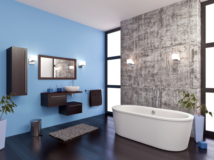 Eclectic bathroom with white claw tub, blue wall and dark hard wood floor