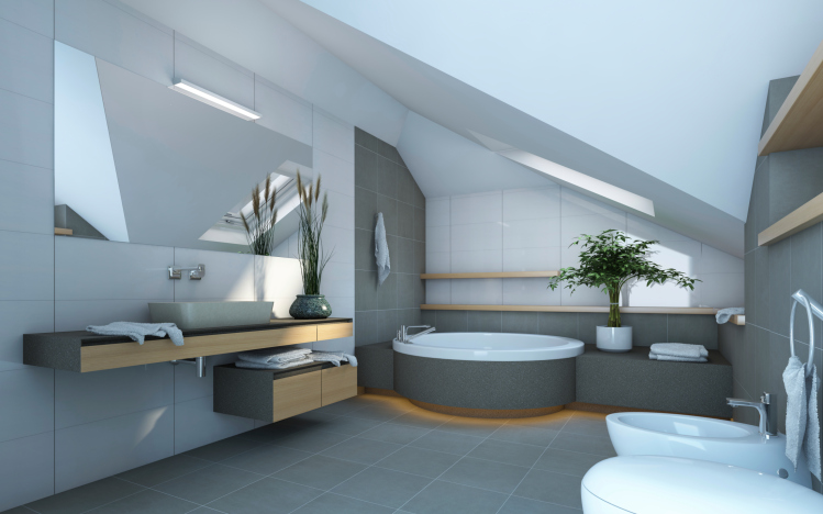 large bathroom renovation in attic with sloping ceiling using grey and white color scheme - Large Bathroom Designs