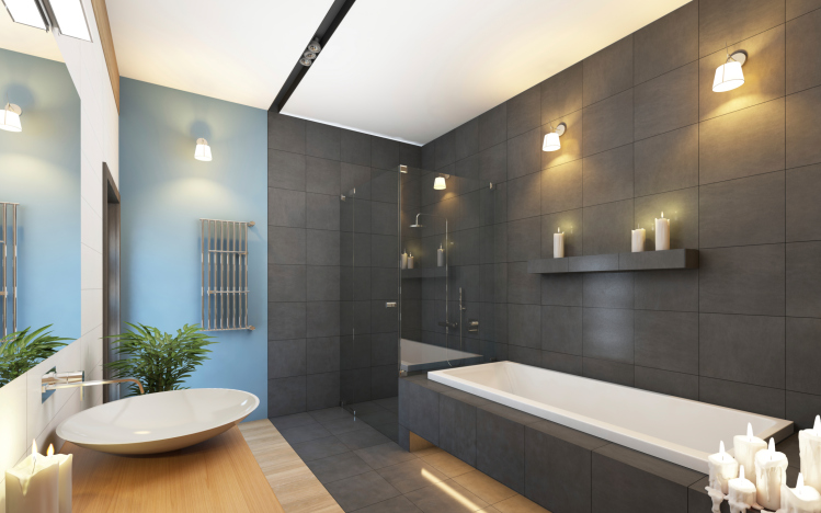 Updated bathroom with dark grey, blue and wood design and elegant lighting