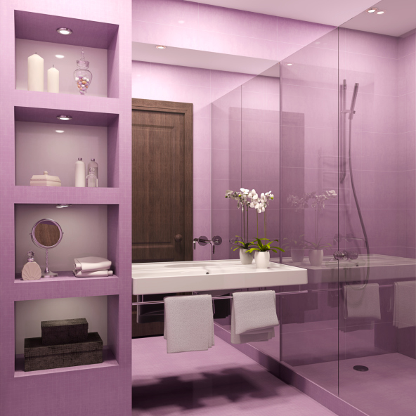 Picture of small purple bathroom with white fixtures