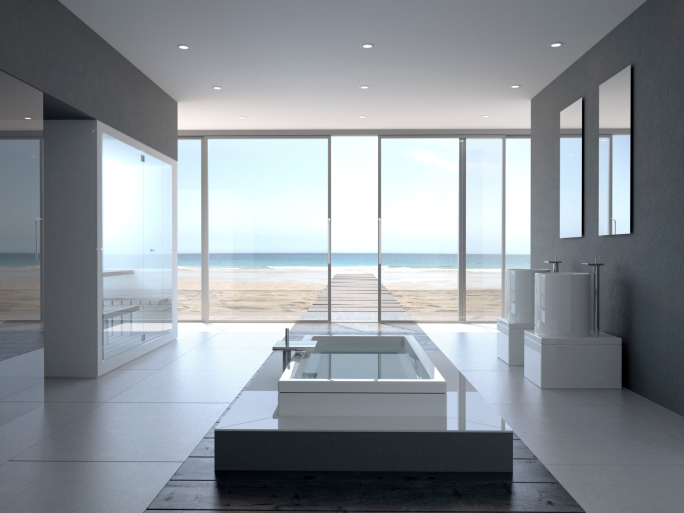 Huge luxurious white bathroom with floor-to-ceiling windows - tub located in the center