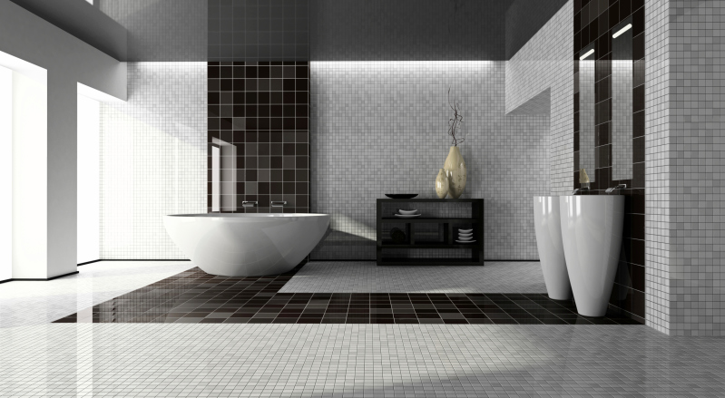 spacious no expense spared black and white bathroom with stand alone sinks and - Modern Bathroom