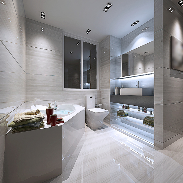 Cool White Bathroom With Stylish Blue Lighting Idea