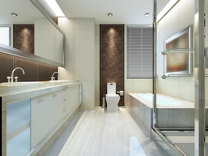 Large en suite bath with mainly white color scheme - long and narrow layout