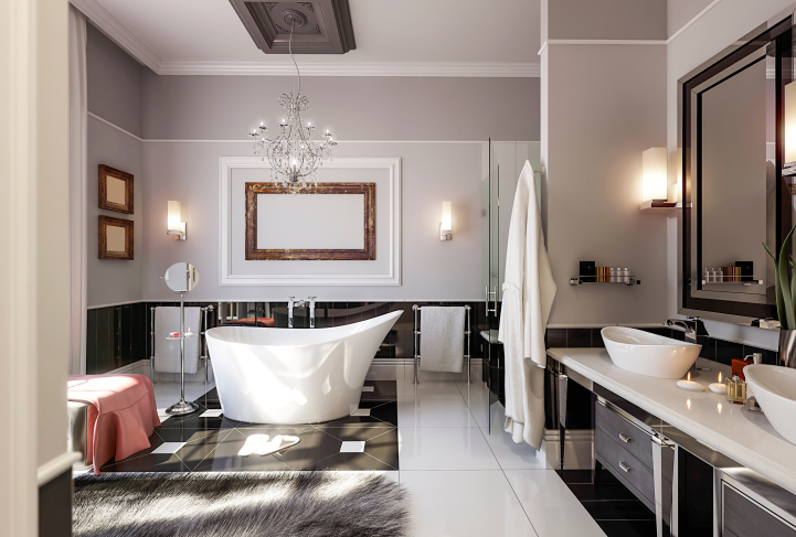Luxury bath with black and white fixtures, all-white floor and crisp white modern claw tub